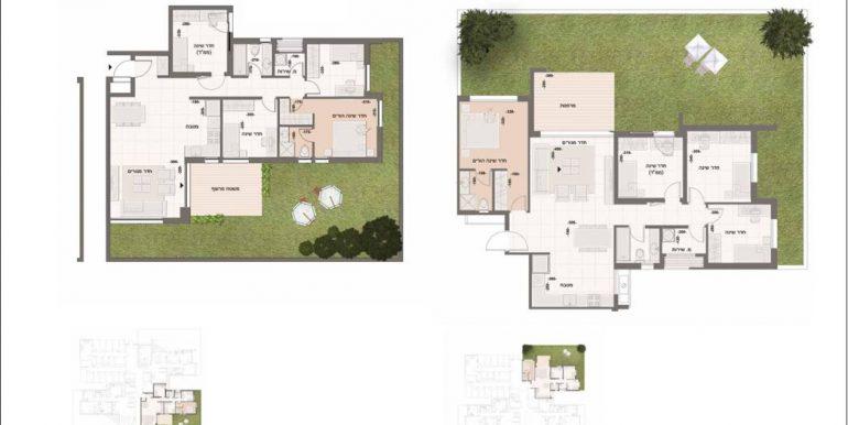 תוכנית דירה 5 חדרים גן